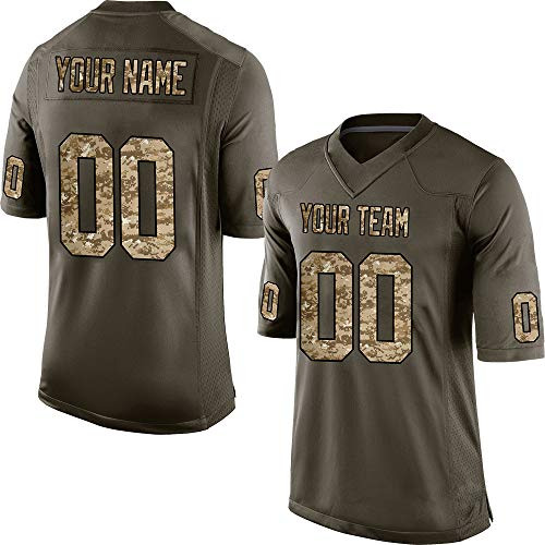 (Custom Men's Camo Green Salute to Service Football Jersey Stitched Team Name and Your Numbers,Light Camo-Black Size 2XL)