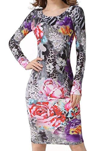 Print Dresses Color Women Sleeve Crewneck Party Long Digital Comfy Pattern1 Spell C0wqzXOd