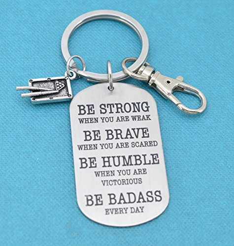 Pool keychain. Billiards key chain. Be Badass Everyday. Pool table gifts. Billiards gifts (Pewter Table Billiard)