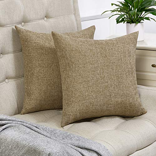 (Anickal Set of 2 Khaki Pillow Covers Cotton Linen Decorative Square Throw Pillow Covers 20x20 Inch for Sofa Couch Decoration)