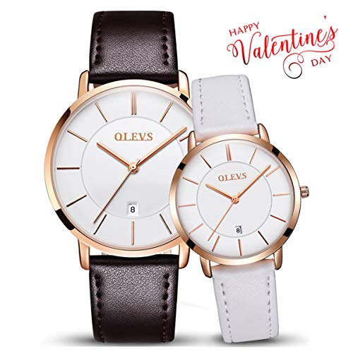 (OLEVS Couple Leather Strap Ultra Thin Watch His and Hers Analog Quartz Slim Luminous Watches White Dial Women and Men Love Valentines Gift Set)