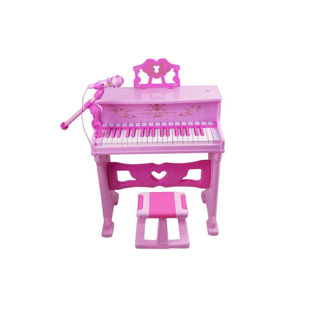 KINGLING-piano Small Piano Toy Desktop Keyboard Children's Musical Instrument with Microphone Early Education (Color : Pink)
