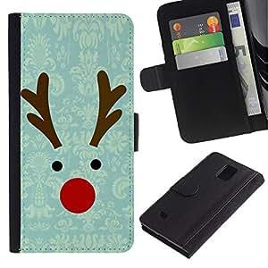 Samsung Galaxy Note 4 IV / SM-N910 Modelo colorido cuero carpeta tirón caso cubierta piel Holster Funda protección - Reindeer Winter Christmas Teal
