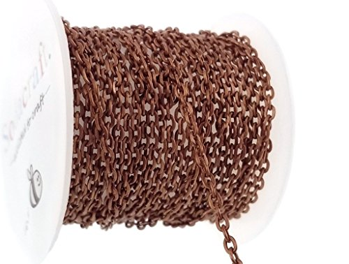 10ft (3.1 Meter) Antique Copper Flat Cable Chain Spool for Jewelry Making- Nickel Free- (2mm x 3mm) (Nickel Free Copper Chains)