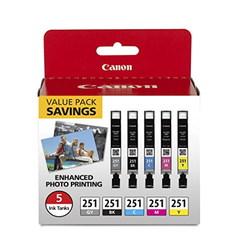 CanonInk CLI-251 BKCMYGY 5 COLOR PACK Ink Cartridge