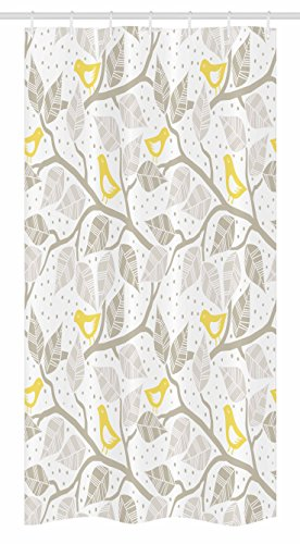 Grey Stall Shower Curtain by Ambesonne, Birds on the Branch with Pastel Colored Leaves on Dotted Background Nature Art, Fabric Bathroom Decor Set with Hooks, 36 W x 72 L Inches, Yellow Gray White
