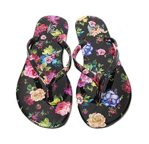 flower Footwear Flip Kali black Focus Flops Glitter Women's 0An4qwaS
