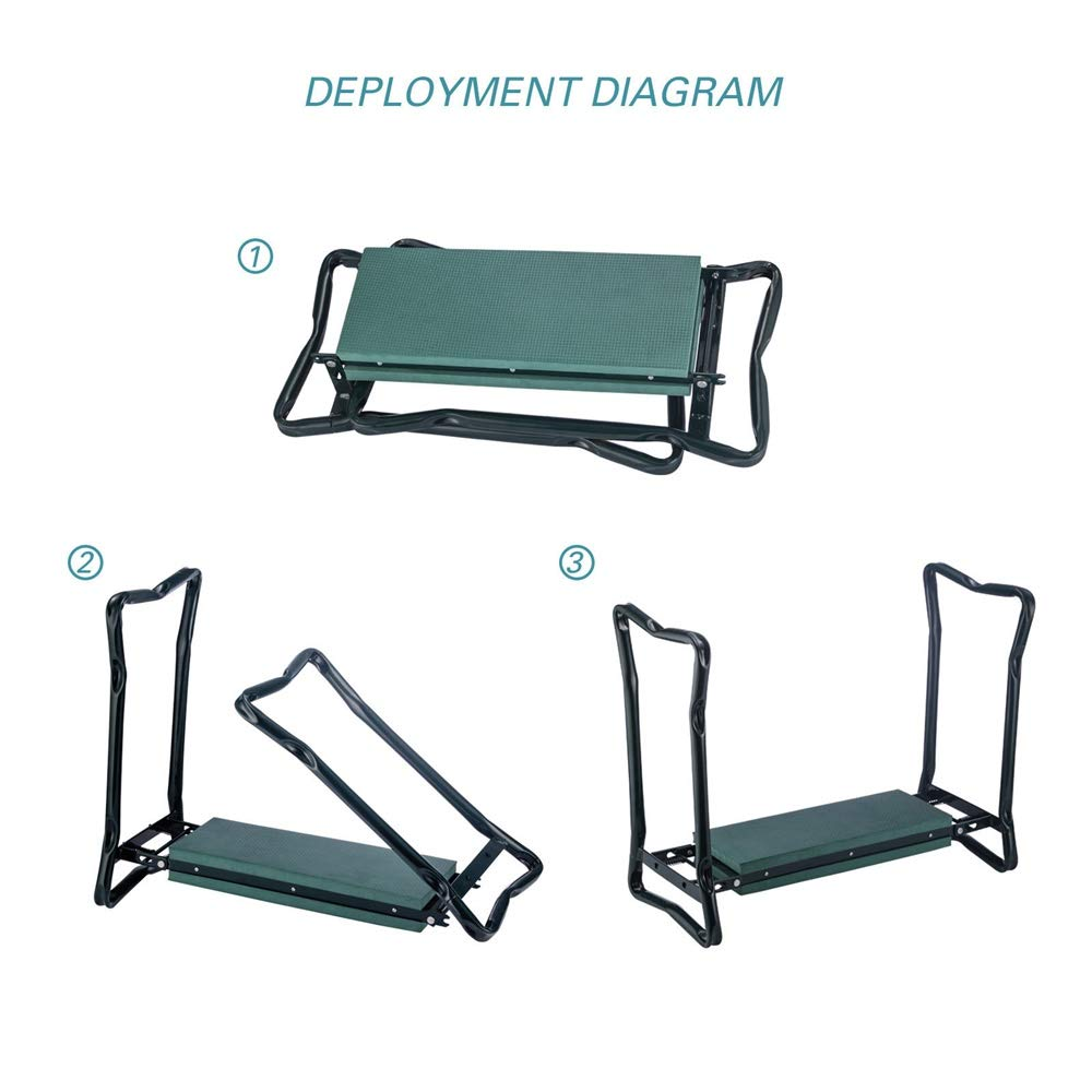 YANEE Foldable Kneeler Garden Bench Stool Soft Cushion Seat Pad Cushion Kneeling, Tool Pouch, Material: Steel Pipe, EVA, Dimensions: 22 3/4'' W × 11'' D × 19 1/3'' H by YANEE (Image #10)