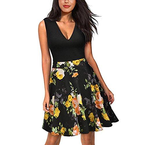 Robes Floral Reaso New Robe sans de Impression manches Couture Jaune Femmes Kw6qF0OUK