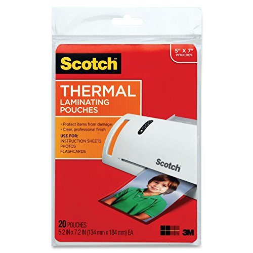 Scotch Thermal Laminating Pouches, 5 Inches x 7 Inches, 20 Pouches, 2-PACK -