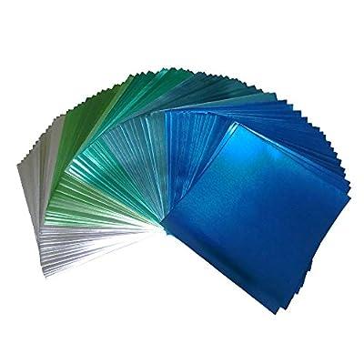 Foil Color Origami Folding Paper 90 Sheets Set Metallic Cold Blue Colors