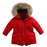 marc janie Baby Boys Kids' Lightweight Down Jacket With Raccoon Fur Collar Hood Puffer Winter Coat Deep Red 8T
