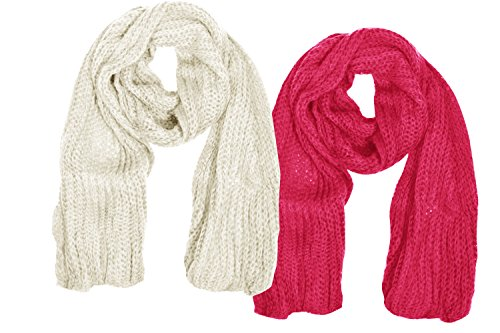 Peach Couture Warm and Cozy Unisex Chunky Hand Knit Long Scarf (2 Pack, Cream & ()