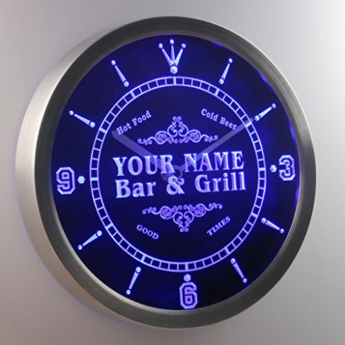 ncu-tm Name Personalized Custom Family Bar & Grill Beer Home Neon Sign LED Wall Clock (Beer Neon Clock)