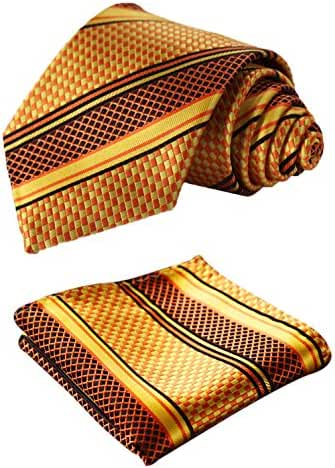 SetSense Men's Stripe Jacquard Woven Tie Necktie Set 8.5 cm / 3.4 inches in Width Orange / Yellow