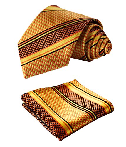 Gold Green Stripe Silk Necktie - Enmain Stripe Jacquard Woven Men's Wedding Silk Tie Pocket Square Necktie Set Gold / Green
