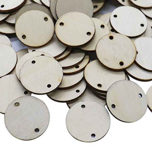 IDS 100PCS 1.4 inch Unfinished Round Discs Coins Circles with 2 Holes Wooden Board Tags - Wooden Tags for Birthday Boards, Chore Boards or Other Special Dates