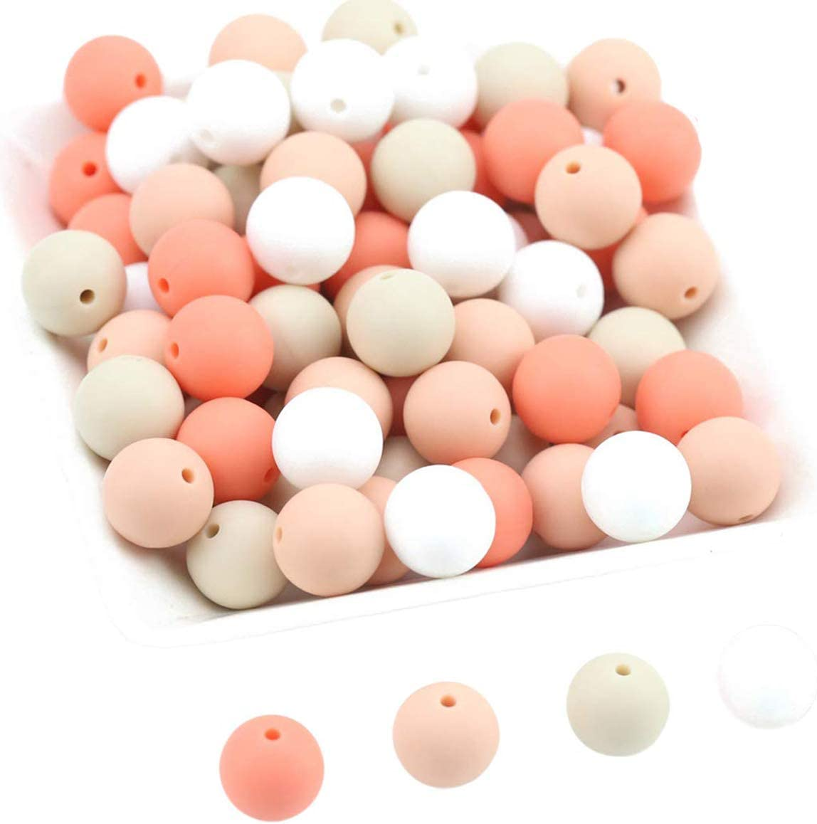 Promise Babe Round Silicone BeadsMix Color Silicone Teething Beads 100pc 12mm DIY Supplies BPA Free