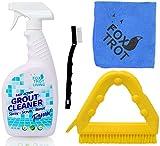 best bathroom tile cleaner - EASY ACTION GROUT AND TILE CLEANING KIT: 32 OZ Bottle EASY ACTION Grout Cleaner Spray Bottle | Versatile Triangle Grout Brush With Scraper | Mini Nylon Brush | Foxtrot TM Professional Grade Microfiber