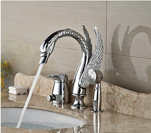 Gowe Modern Chrome Brass Heighten Bathroom Basin Deck Mounted Sink Faucet Waterfall Mixer tap With Hand Shower 3PCS 3