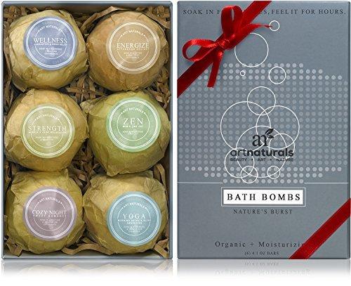 Set de arte naturales baño bombas regalo - 6 Ultra aceite esencial exuberante Spa hecho a mano bomba Fizzies - ingredientes orgánicos y naturales y manteca de karité para hidratante piel seca - la relajación en una caja - regalo mejor
