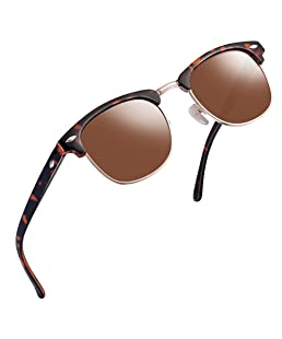 FEIUD SUNGLASSES FOR MEN WOMEN - Half Frame Polarized Classic fashion womens mens sunglasses FD4003 (2Leopard brown, 2.04)