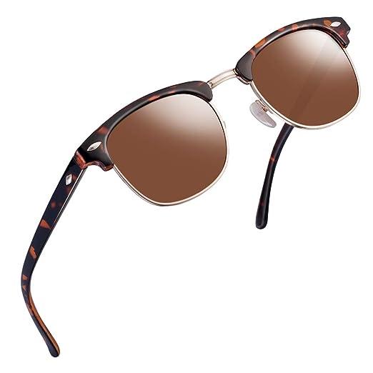 16b3a940e44 Semi Rimless Clubmaster Sunglasses for men- Half Frame Polarized Classic  With Box FEIDU FD4003 (