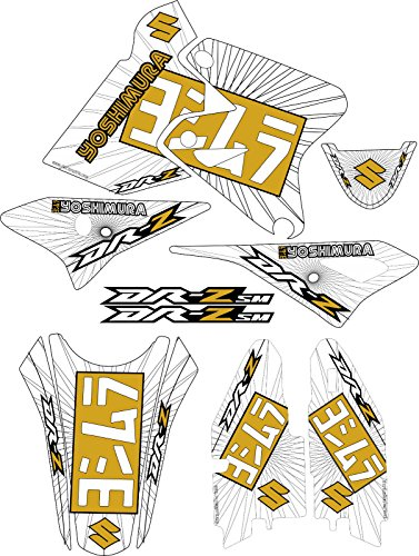 DRZ400SM Gold Exhaust Graphic Kit Drz400s drz 400sm 400s sm Shroud Decal drz 400