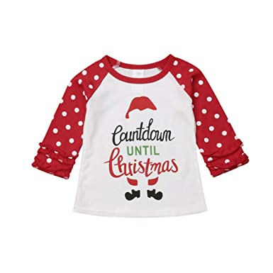 2f708aebfb0a Toddler Little Girls Christmas Ruffle Shirts Kids Long Sleeve Polka Dot  Autumn Tops Blouses (Red