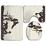 DING Wilderness Bear Country Soft Comfort Flannel Bathroom Mats,Anti-Skid Absorbent Toilet Seat Cover Bath Mat Lid Cover,3pcs/Set Rugs