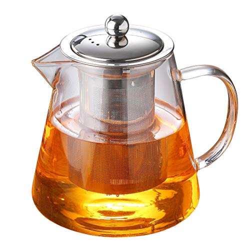 Black Glass Tea Pots - Glass Teapot with Infuser Tea kettle Tea Pot 32 oz /950 ml Glass Teapot Infuser Stove Top with Infuser for Blooming and Loose Leaf Tea Large Capacity