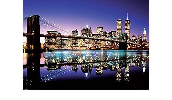 Póster de tamaño gigante New York Skyline Brooklyn Bridge por la noche (140cm x 100cm): Amazon.es: Hogar