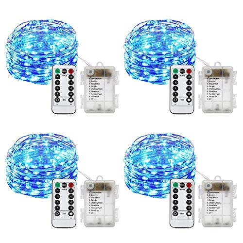 HAHOME Battery Operated Christmas Fairy String Lights with Remote for Holiday Wedding Halloween Patio Party Decoration,Blue ()