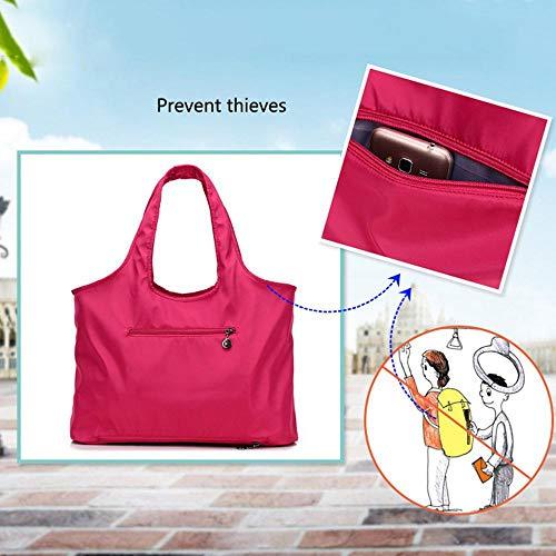 Trabajo De Bolso Hot Mujer Aolvo Gran Viaje Compras Bolsa Nailon Para Hobo Capacidad Impermeable Pink Hombro qn55zvwp