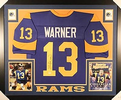 Kurt Warner Autographed Signed Rams Custom Framed 35x43 Jersey Certified Authentic JSA Sig Dog Witnessed Hologram & Coa Card