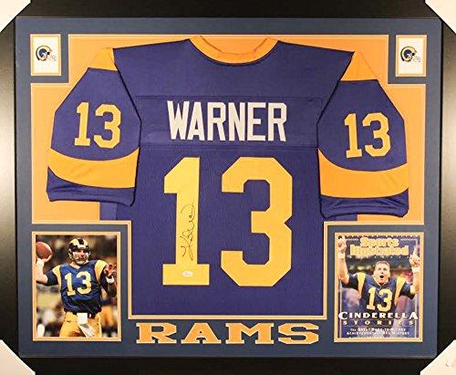 Kurt Warner Autographed Signed Rams Custom Framed 35x43 Jersey Certified Authentic JSA Sig Dog Witnessed Hologram & Coa Card - Authentic Kurt Warner Jersey