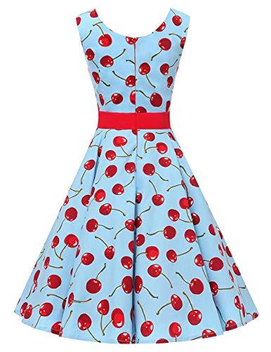 años sin 50 Cerise3 estilo rockabilly de para mujer 60 de retro verano Vestido noche para VKStar® mangas vestido y wvqIfpwx