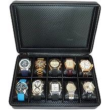 10 Watch Briefcase Black Carbon Fiber Zippered Travel Storage Case 50MM Men''s Gift