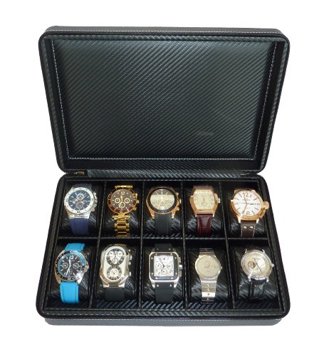 10 Watch Briefcase Black Carbon Fiber Zippered Travel Storage Case 50MM Men''s ()