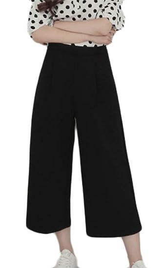 e689336b912b Etecredpow Womens Open Bottom Simple Summer Trousers Wide Leg High Waisted  Cropped Pants Black XS