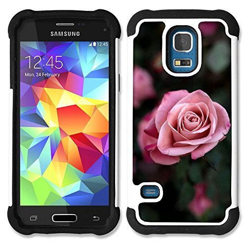 SAMSUNG Galaxy S5 Mini (NOT for S5) / Galaxy S5 Mini Duos - Hybrid Heavy Duty Armor Shockproof Silicone Cover Rugged case (Rose Bush)