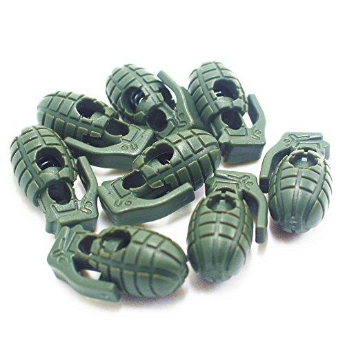 10pcs Forma de Granada, antideslizante, hebilla de balón de balón de zapatos encaje cerraduras para al aire libre Camping senderismo, Army green Army green