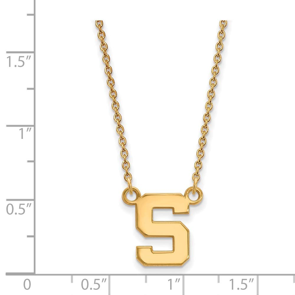 Solid 925 Sterling Silver with Gold-Toned Michigan State U Small Pendant with Necklace 10mm