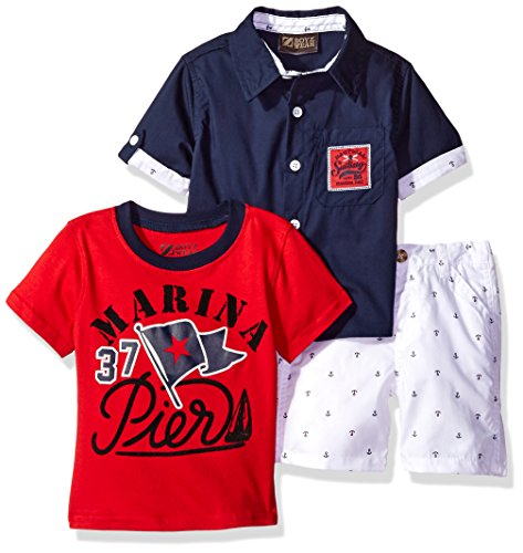 Nannette Baby Boys' 3 Piece Button Down Shirt Tee and Short, Navy, 24M - Blue Piece Cloth