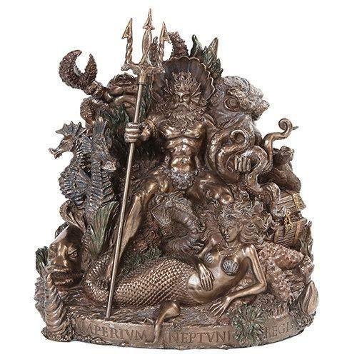 Figurine Greek God of Sea Poseidon Sitting On Throne with Mermaid Neptune Statue