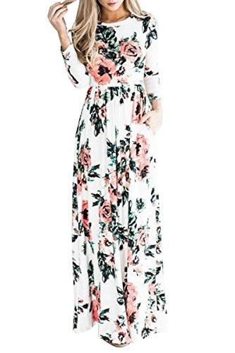 OMZIN Vestido Largo de Manga Corta Imperio con Estampado Floral para Mujer S-3XL Blanco Manga Largas