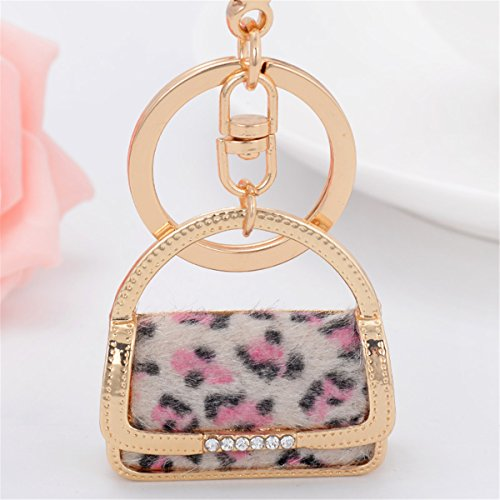 Bag Shape Keychain Charm Pendant Handbag Bag Keychain Key Ring (Pink Leopard Bag)
