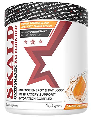 SKALD Powder – First Pre Workout Fat Burner with Respiratory Support – Best Thermogenic Weight Loss Drink for Men and Women – for Energy, Cardio and Endurance (Orange Cream – with Hydration Blend)