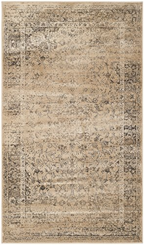 - Safavieh Vintage Premium Collection VTG113-660 Transitional Oriental Warm Beige Distressed Silky Viscose Area Rug (3'3