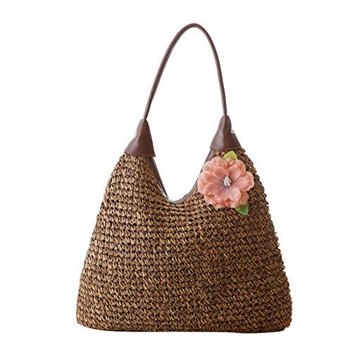 Luckywe Bolsa de mujeres carteras bolsos Flor damas rota naturaleza playa A91 marrón